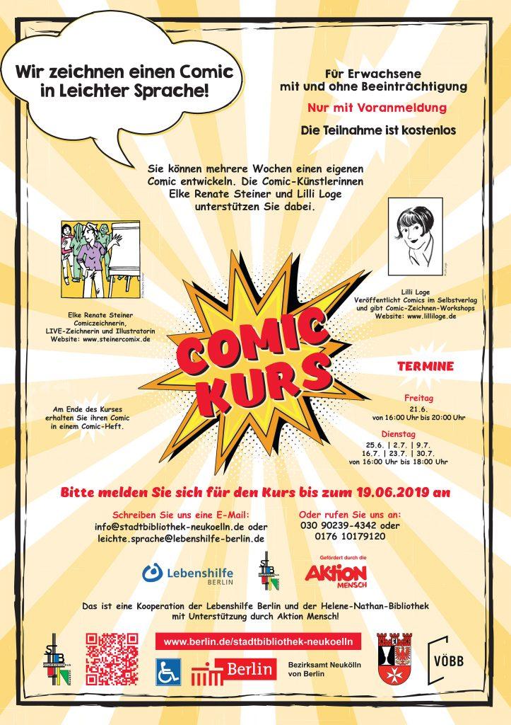 Einladung zum Comic-Kurs in Leichter Sprache in der Helene-Nathan-Bibliothek Berlin-Neukölln